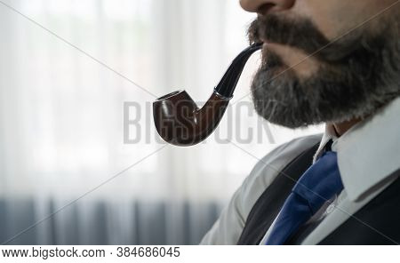 Portrait Of Vintage Business Gentleman, White Man With Mustache And Beard, Caucasian Person Smoking