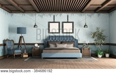 Blue Retro Bedroom With Classic Style Double Bed, Old Armchair And Floor Lamp - 3d Rendering