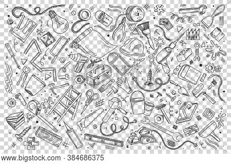Repairs Doodle Set. Collection Of Hand Drawn Patterns Sketches Templates Of Working Tools And Instru