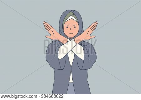 Emotion, Face, Rejection, Prohibition, Denial Concept. Young Angry Sad Serious Arab Muslim Woman Wit