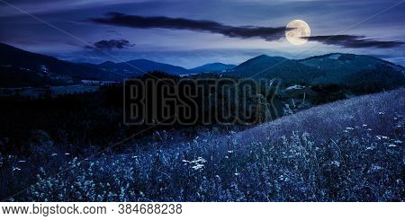 Pasture On A Sunny Day In Mountains At Night. Wonderful Countryside Landscape Of Carpathians In Full