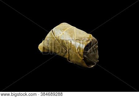 Psd Grape Leaf Dolma Roll Isolated On Black Background