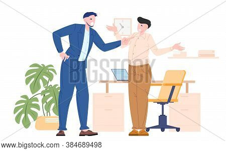 Boss Bullying To Their Employee, Manager Angry At Work. Vector Illustration Flat Style Of Man Worker