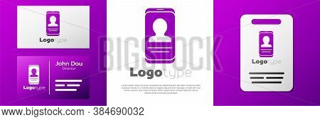 Logotype Mobile With Resume Icon Isolated On White Background. Cv Application. Searching Professiona