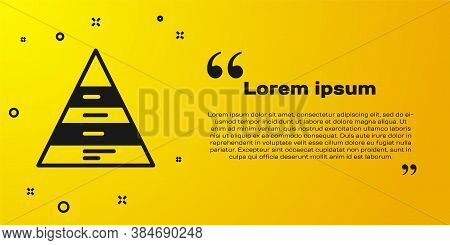Black Business Pyramid Chart Infographics Icon Isolated On Yellow Background. Pyramidal Stages Graph