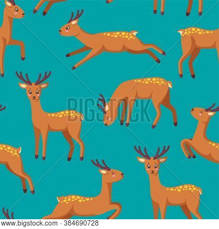 Cheerful Reindeers In Seamless Pattern For Various Prints And Designs. Jumping, Standing, Running, D
