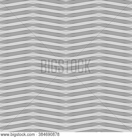 Grey Wavy Lines. And Triangles Jagged Stripes. Seamless Surface Pattern Design With Sine Waves Ornam