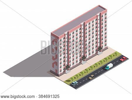 Public Residential Nine-storey Building Isometry. Isometric View Of The House And Cars. 3d Object Fo