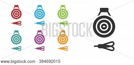 Black Classic Dart Board And Arrow Icon Isolated On White Background. Dartboard Sign. Game Concept.