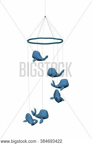 Pendant With Blue Whales. Children Toy With Whales. 3d. Vector Illustration