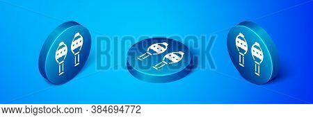 Isometric Maracas Icon Isolated On Blue Background. Music Maracas Instrument Mexico. Blue Circle But