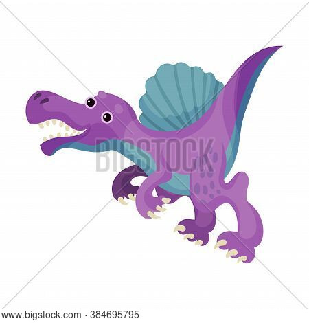 Cute Bipedal Dinosaur With Tail And Claws As Ancient Reptile Vector Illustration