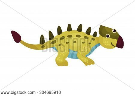 Cute Green Dinosaur With Spotted Coat And Long Tail As Ancient Reptile Vector Illustration