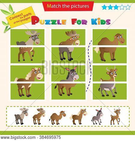 Matching Game For Children. Puzzle For Kids. Set Of Animals. Elk, Reindeer, Camel, Horse, Donkey, De