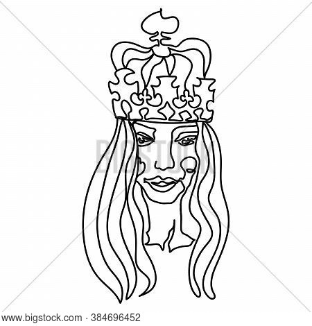 Beautiful Woman Face With Nude Make-up Hand Drawn Vector Illustration. Stylish Original Graphics Por