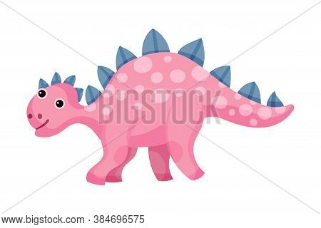 Funny Dinosaur With Horns As Ancient Reptile Vector Illustration