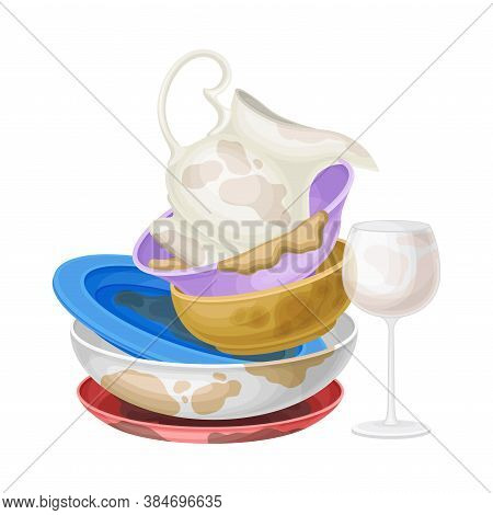 Pile Of Dirty Dishes And Utensils With Plates And Glass Vector Illustration
