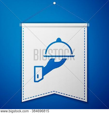 Blue Covered With A Tray Of Food Icon Isolated On Blue Background. Tray And Lid Sign. Restaurant Clo