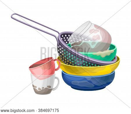 Pile Of Dirty Dishes And Utensils With Plates And Cups Vector Illustration