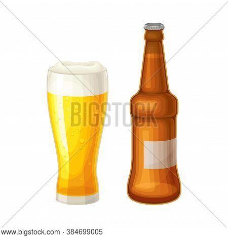 Lager Beer Mug With Bottle As Traditional German Beverage Vector Illustration