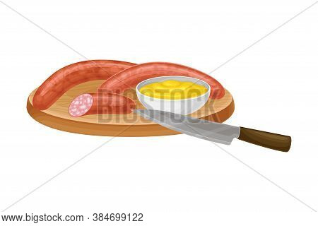Wurst Or Sausage Rested On Wooden Board With Sauce Vector Illustration