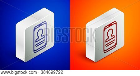 Isometric Line Mobile With Resume Icon Isolated On Blue And Orange Background. Cv Application. Searc