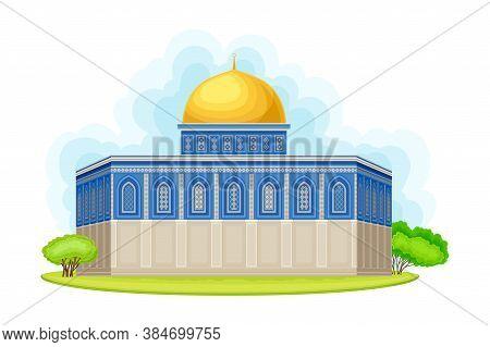 Dome Of The Rock As Shrine In Jerusalem Vector Illustration