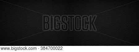 Black Leather Texture Background In Wide Web Banner Format