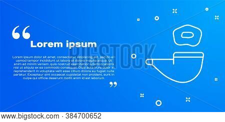White Line Smoking Pipe With Smoke Icon Isolated On Blue Background. Tobacco Pipe. Vector