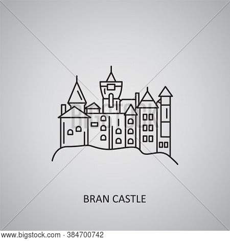 Bran Castle Icon On Grey Background. Romania, Bran. Line Icon