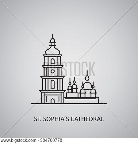 St. Sophia's Cathedral Icon On Grey Background. Ukraine, Kyiv. Line Icon