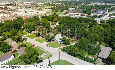 Top View Green Residential Area Outside Historic Downtown Carrollton, Texas