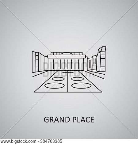 Grand Place Icon On Grey Background. Belgium, Brussels. Line Icon