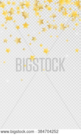 Gold Twinkle Stars Vector Transparent Background. Effect Starry Texture. Glitter Pattern. Yellow Gra