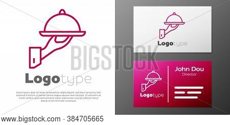 Logotype Line Covered With A Tray Of Food Icon Isolated On White Background. Tray And Lid Sign. Rest
