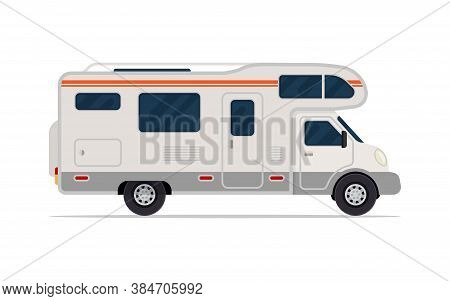 Modern Camper Van. Comfortable Motorhome. Side View. Vector Illustration. Isolated On White Backgrou