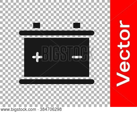 Black Car Battery Icon Isolated On Transparent Background. Accumulator Battery Energy Power And Elec