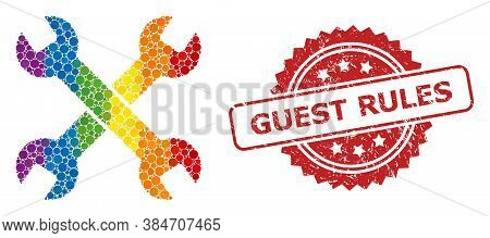 Spanners Collage Icon Of Round Items In Variable Sizes And Rainbow Colored Color Tinges, And Guest R