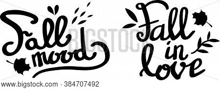Set Of Autumn Black Lettering. Ink Cursive Typeset With Leaves. Typographic Vector Illustration.