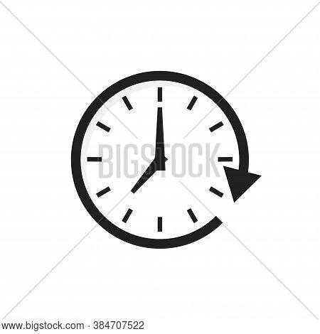 Time Arrow Vector Icon. Clock Isolated Icon For Wab Design. Simple Flat