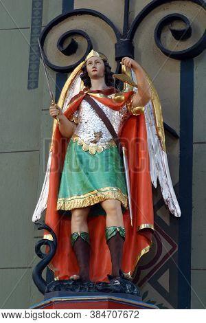 ZAGREB, CROATIA - JULY 27, 2012: Saint Michael the archangel statue in the parish church of the Nativity of the Virgin Mary in Granesina, Zagreb, Croatia