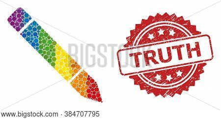 Pencil Collage Icon Of Circle Spots In Variable Sizes And Lgbt Colorful Color Tints, And Truth Rubbe