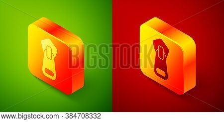 Isometric Zipper Icon Isolated On Green And Red Background. Square Button. Vector Illustration