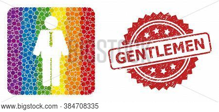 Groom Collage Icon Of Spheric Elements In Variable Sizes And Spectrum Color Tints, And Gentlemen Scr