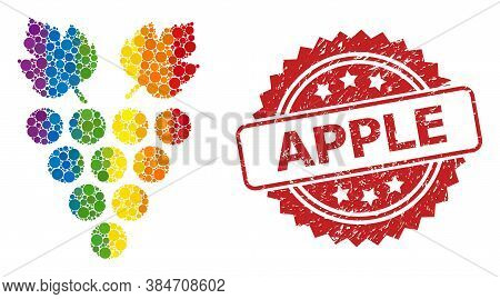 Grape Collage Icon Of Spheric Spots In Different Sizes And Lgbt Colored Color Tones, And Apple Uncle