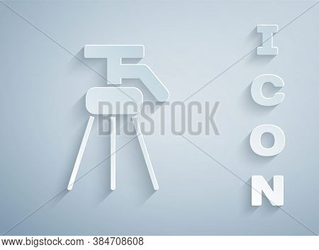 Paper Cut Tripod Icon Isolated On Grey Background. Paper Art Style. Vector Illustration