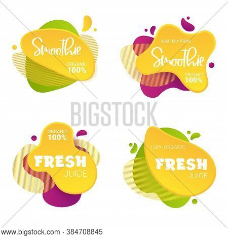 Set Of Frash And Smoothie Vector Label. Bright And Shine Stickers, Labels, Tags And Banners For Smoo