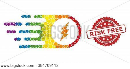 Electric Spark Mosaic Icon Of Circle Dots In Different Sizes And Rainbow Color Hues, And Risk Free D