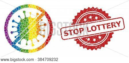 Stop Microbe Collage Icon Of Circle Dots In Different Sizes And Rainbow Color Tints, And Stop Lotter