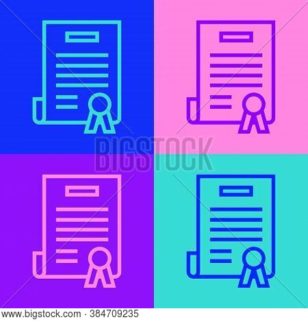 Pop Art Line Declaration Of Independence Icon Isolated On Color Background. Vector Illustration